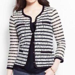 Ann Taylor Navy & White Striped cardigan